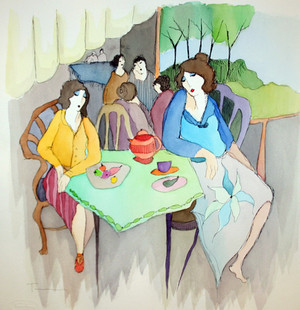 AT THE CAFE (WATERCOLOR) BY ITZCHAK TARKAY