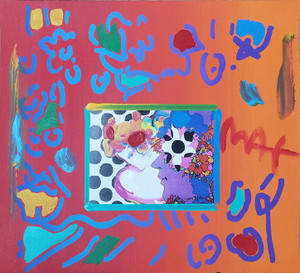 THREE FACES (OVERPAINT) BY PETER MAX