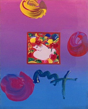 FLOWER BLOSSOM LADY I (OVERPAINT) BY PETER MAX
