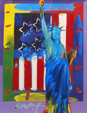 PATRIOTIC SERIES: FULL LIBERTY WITH FLAG BY PETER MAX