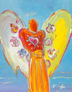 ANGEL WITH HEART (1990'S) BY PETER MAX