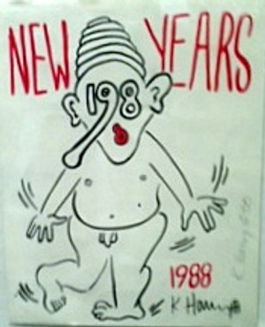 NEW YEAR 1988 BY KEITH HARING
