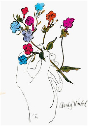 HAND WITH FLOWERS 1957 (WATER COLORS) BY ANDY WARHOL