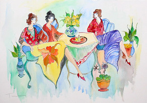 BREAKFAST CHAT (WATERCOLOR) BY ITZCHAK TARKAY