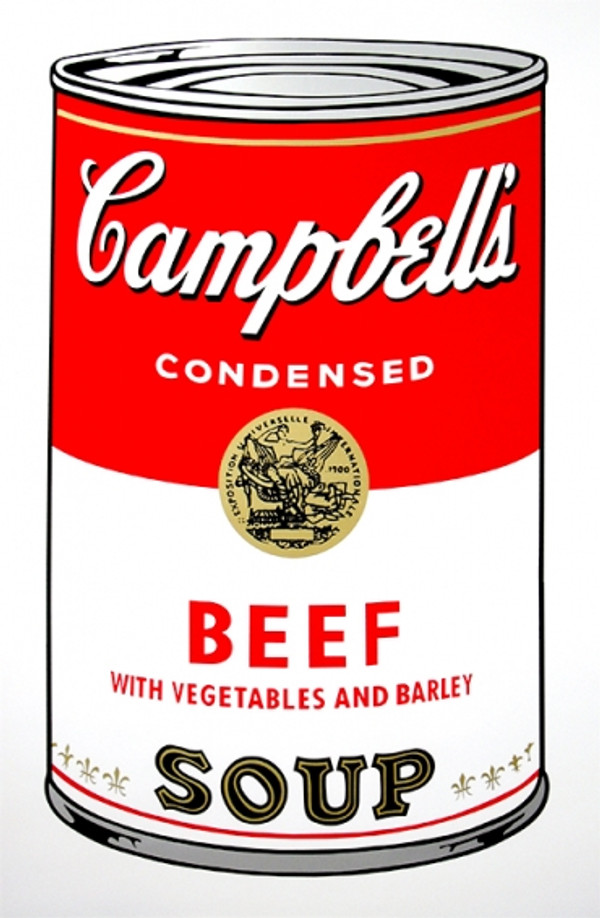 BEEF - CAMPBELL SOUP CAN BY ANDY WARHOL FOR SUNDAY B. MORNING
