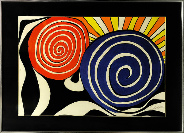 RED AND BLUE SPIRALS WITH SUN BY ALEXANDER CALDER