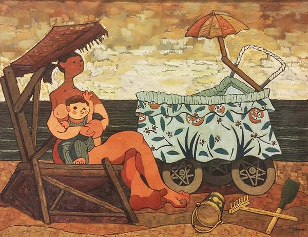 MATERNIDAD EN LA PLAYA BY JUAN GUILLERMO RODRIGUEZ BAEZ