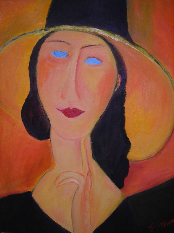 PORTRAIT OF JEANNE HEBUTERNE WITH LARGE HAT BY ESTERA NANASSY