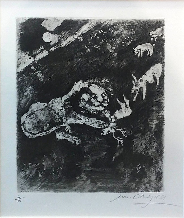 THE HEIFER, THE GOAT AND THE SHEEP IN COMPANY WITH THE LION BY MARC CHAGALL