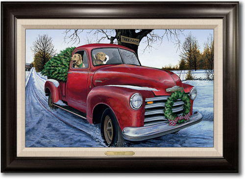 """""""Lab Tidings to You"""" -  Framed Canvas Print with Optional Truck Door Personalization"""