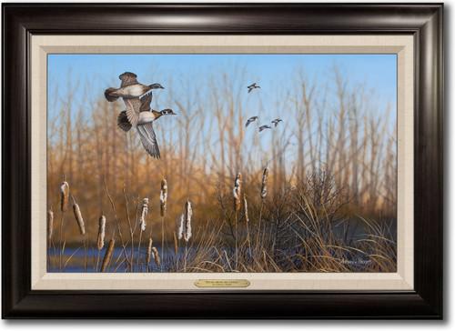 """Return Among the Cattails"" Framed Canvas Print"
