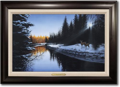 """An Evening Along the River"" Framed Canvas Print"
