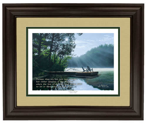 """""""A Place to Ponder"""" 11x14 framed lithograph tan/green matting"""
