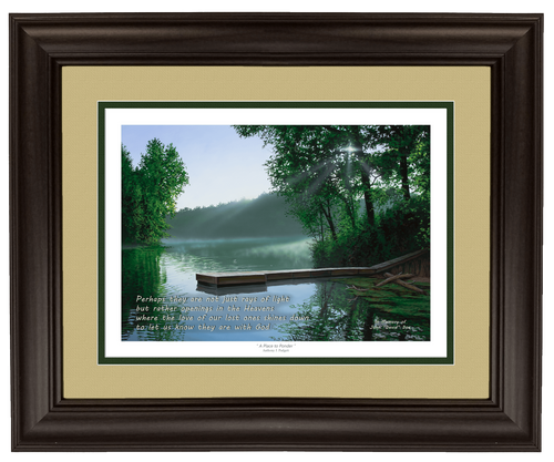 """""""The Cross and the Light"""" 11x14 framed lithograph tan/green matting"""