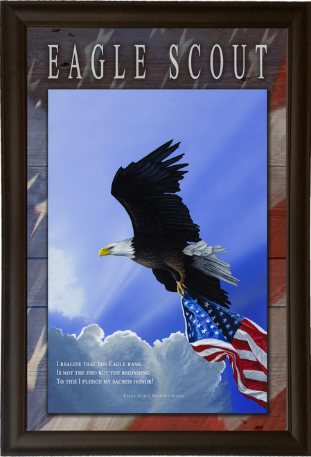 11x17 eagle scout framed canvas print with oath and brenden stock