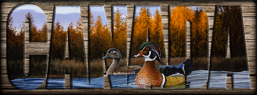 """CANADA"" Sign - Autumn Front - Wood Ducks"