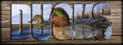 DUCKS -  Green-winged Teal - Miniature Shelf Sign