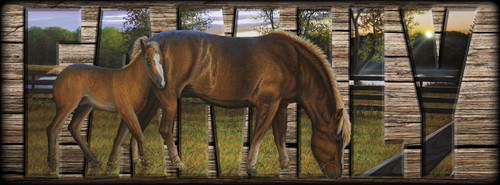 """""""FAMILY"""" Sign - Beside Still Waters - Horses"""