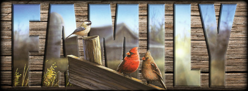 """""""FAMILY"""" Sign - Morning Song - Cardinals with Chickadee"""