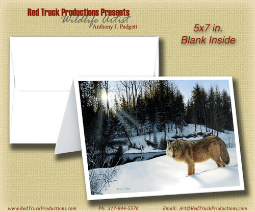 "5x7 Notecard - ""Winter's Solitude"" Wolf"