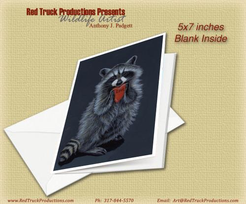"5x7 Notecard- ""Be Mine"" - Raccoon"