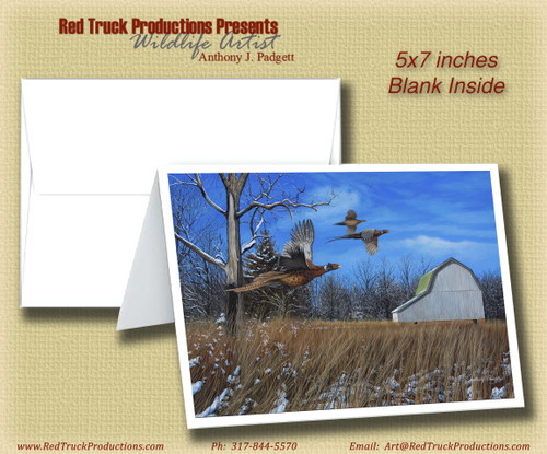 "5x7 Notecard- ""Brisk Afternoon Flight"" - Pheasants"