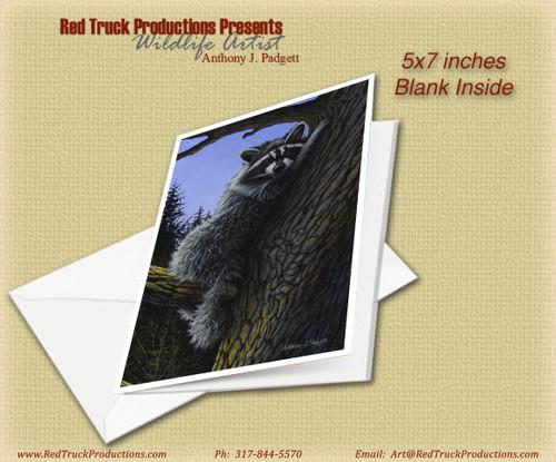 "5x7 Notecard- ""Raccoon Rest Stop"""