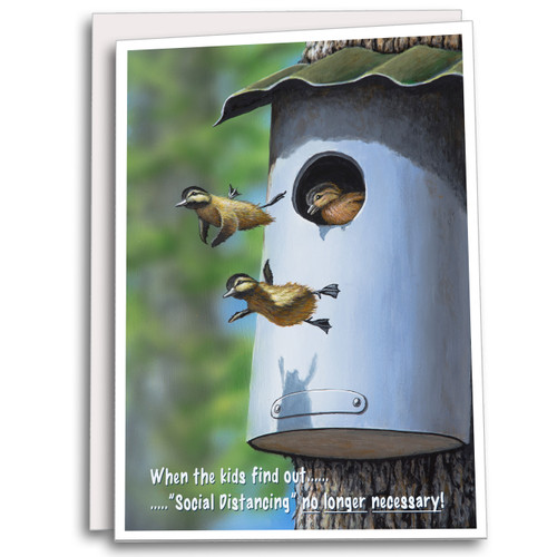 """5x7 Blank Inside Note Card - When the Kids Find Out... """"Social Distancing"""" No Longer Necessary!"""