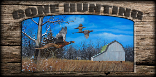 """Gone Hunting"" Sign - Brisk Afternoon Flight - Pheasants"