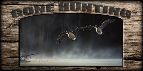 """""""Gone Hunting"""" Sign - Daybreak Approach - Canada Goose"""