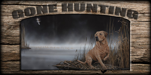 """Gone Hunting"" Sign - Daybreak Arrival - Yellow Lab"