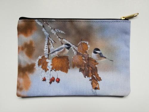 Accessory Bag- Snow Chickadees
