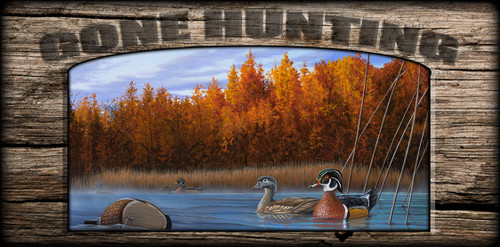 """Gone Hunting"" Sign - Curious Approach - Wood Ducks"