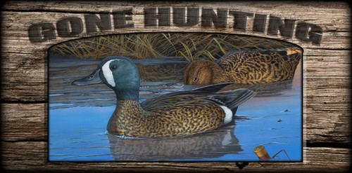 """""""Gone Hunting"""" Sign - Mexican Teal"""