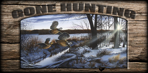 """Gone Hunting"" Sign - Winter Flush - Quail"