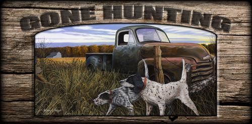 """Gone Hunting"" Sign - English Prairie - English Setter"