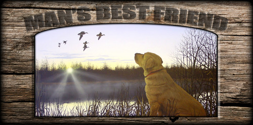 """Man's  Best Friend"" Sign - Diligence - Yellow Lab"