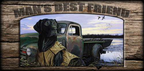 """Man's  Best Friend"" Sign - Fully Vested - Black Lab"