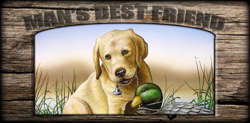 """""""Man's  Best Friend"""" Sign - Yellow Lab Pup with Decoy"""