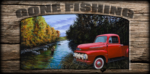 """Gone Fishing"" Sign - Couple of Old Timers"