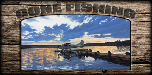 """Gone Fishing"" Sign - Adventure Awaits - Plane"