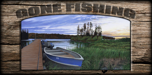 """""""Gone Fishing"""" Sign - Woman River Camp"""