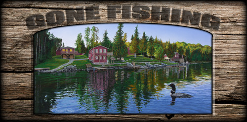 """Gone Fishing"" Sign - Rocky Shore Lodge"