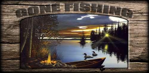 """Gone Fishing"" Sign - Loon Lake"