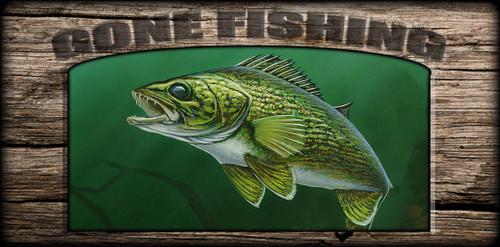 """Gone Fishing"" Sign - Walleye"