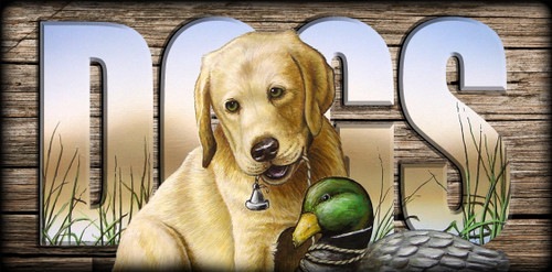 """""""DOGS"""" Sign - Yellow Lab Pup with Decoy"""