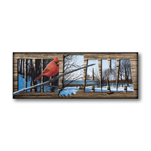 """INDIANA"" Sign - Creekside Perch - Cardinal"