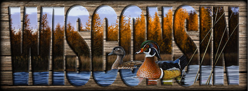 WISCONSIN - Sign - Autumn Front - Wood Ducks