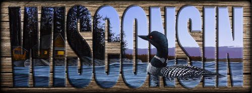 WISCONSIN - Sign - North Shore Lodge - Loon