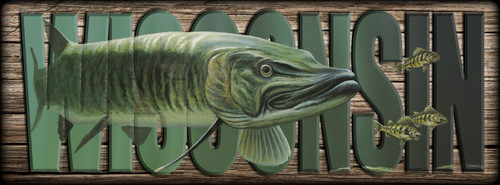WISCONSIN - Sign - The Hunter - Musky